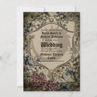Thrones Dragon Wedding Medieval Gothic Parchment Invitation