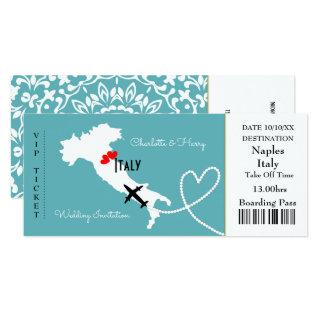 Ticket Boarding Pass Wedding Destination Italy Invitation