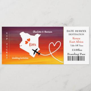 Ticket Boarding Pass Wedding Destination Kenya Invitation