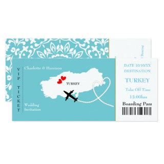 Ticket Boarding Pass Wedding Destination Turkey Invitations