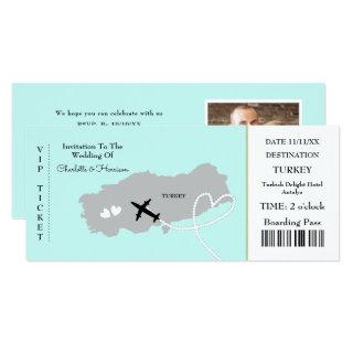 Ticket Boarding Pass Wedding Destination Turkey Invitation