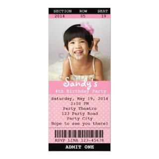 Ticket Invitations (Pink) with Photo -Theatre/Movie