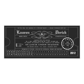 Ticket Punch Card Tea Length Invitations in Black