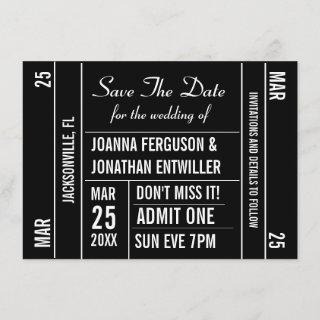 Ticket Stub Save The Date Invitations