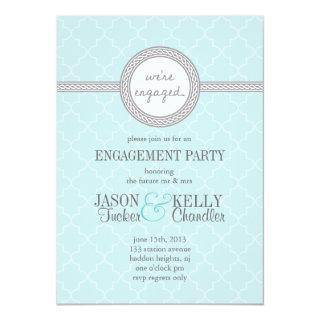 Tiffany Blue and Gray Engagement Party Invitations
