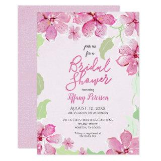 Tiger Lily Pearl Pink Floral | Bridal Shower Party Invitations