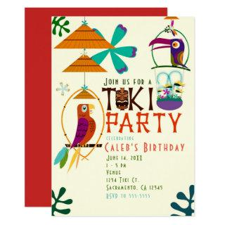 Tiki Birds Birthday Party Vintage Luau Invitations