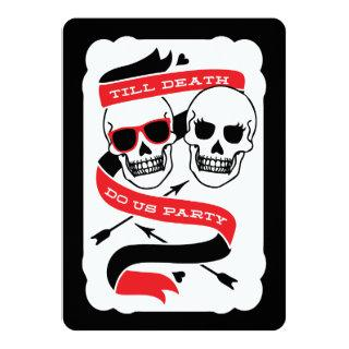Till Death Do Us Party - Black and Red Wedding Invitation