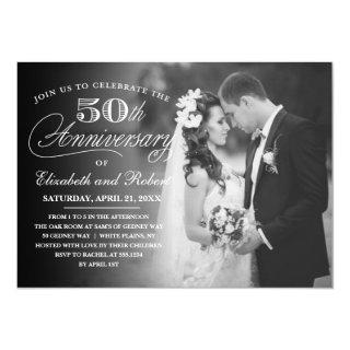 Timeless 50th Anniversary Party Photo Invitations