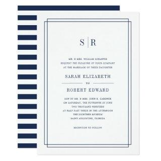 Timeless Monogram Wedding Invitations | Navy