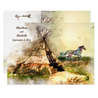 Tipi and Indian Pony Boho Horse Teepee Wedding Invitations