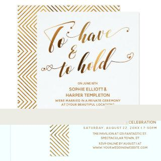 To Have & To Hold White Gold Post-Wedding Event Invitation