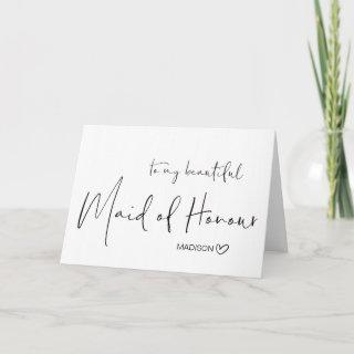 To My Beautiful Maid of Honour Wedding Thank You Card