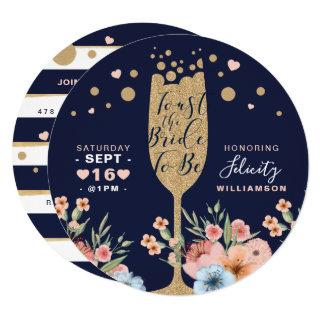 Toast The Bride - Champagne Floral Bridal Shower Invitation