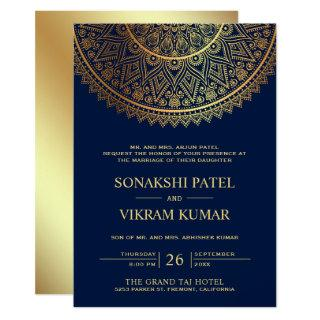Traditional Blue Gold Mandala Indian Wedding Invitation