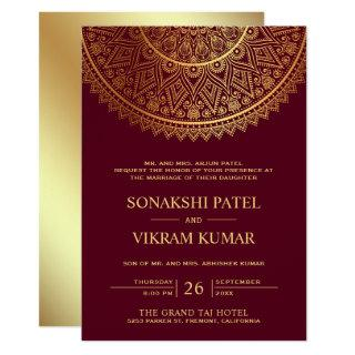Traditional Burgundy Gold Mandala Indian Wedding Invitation