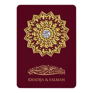 Traditional Burgundy Gold Motif Islamic Wedding Invitations
