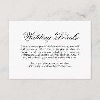 Traditional Calligraphy Formal Wedding Details Enclosure Card