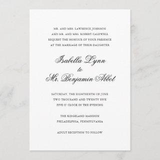 Traditional Calligraphy Names Formal Wedding Invitation