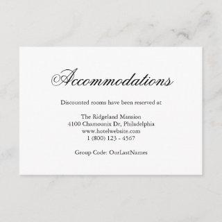 Traditional Calligraphy Wedding Accommodations Enclosure Card