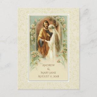 Traditional Catholic SAVE THE DATE Wedding Announcement Postcard