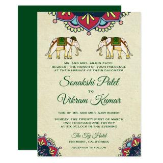 Traditional Elephants Indian Wedding Invitations