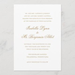 Traditional Gold Calligraphy Names Formal Wedding Invitation