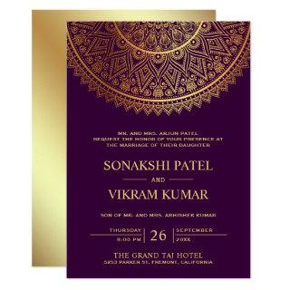 Traditional Purple Gold Mandala Indian Wedding Invitation