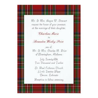 Traditional Royal Stewart Plaid Wedding Invitations