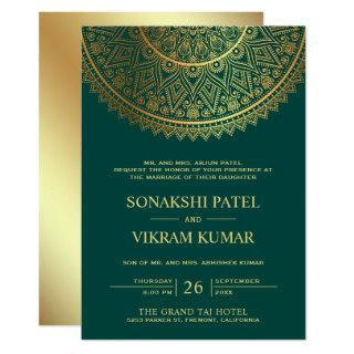 Traditional Teal Gold Mandala Indian Wedding Invitation