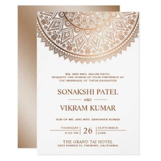 Traditional White Bronze Mandala Indian Wedding Invitation