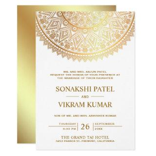 Traditional White Gold Mandala Indian Wedding Invitations