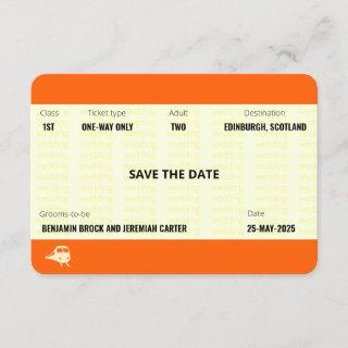 Train Ticket Inspired | Gay Wedding Save the Date Invitations