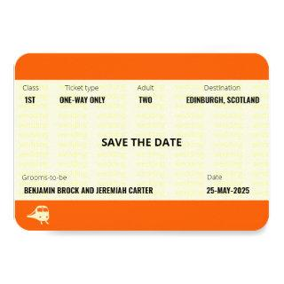 Train Ticket Inspired | Gay Wedding Save the Date Invitation