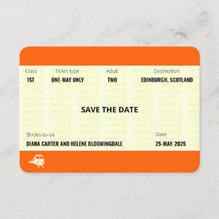 Train Ticket Inspired | LGBTQ+ Save the Date Invitation