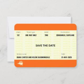 Train Ticket Inspired | LGBTQ+ Save the Date