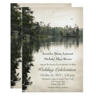 tranquil rustic lake evergreens reflection wedding Invitations