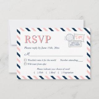 Travel Airplane Airline Wedding Engagement Party RSVP Card
