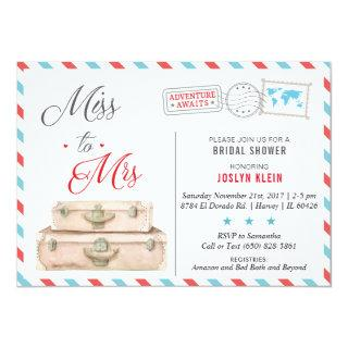 Travel Bridal Shower Invitation, Miss to Mrs Invitation