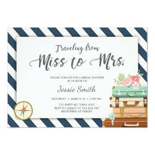 Travel Bridal shower Invitations Miss to Mrs Navy