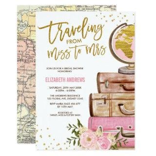 Travel Map Bridal Shower / Pink Gold Floral Invitations