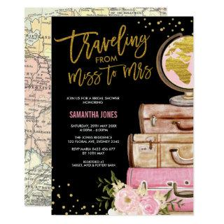 Travel Suitcase Bridal Shower Around the World Invitation