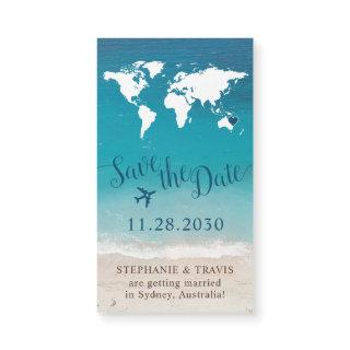 Travel Theme Beach Wedding Save the Date Magnet