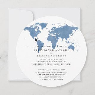 Travel Theme Reception Invitations Dusty Blue Globe