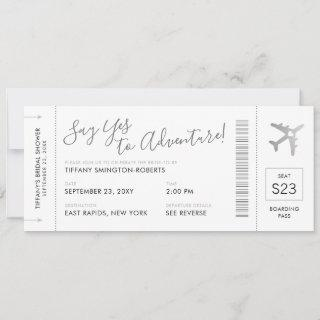 Travel Theme Silver Bridal Shower Boarding Pass