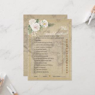 Travel Theme  Who'd Rather Bridal  Shower game  Invitation