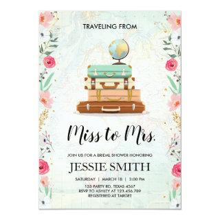 Travel themed Bridal shower Invitations Miss to Mrs