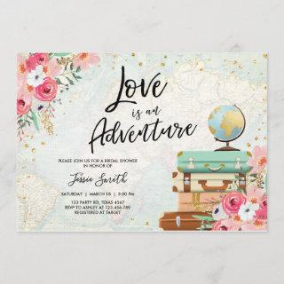 Travel themed Bridal shower Love is Adventure Pink Invitations