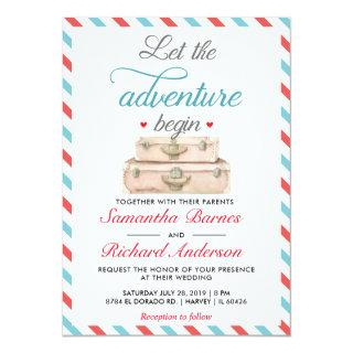 Travel Wedding Invitation Postcard Red Blue