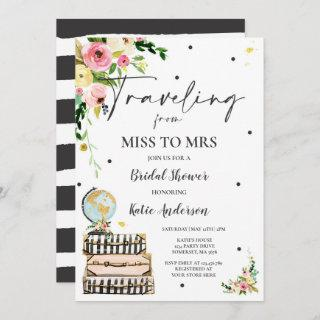 Traveling From Miss to Mrs Bridal Shower Map Bride Invitation